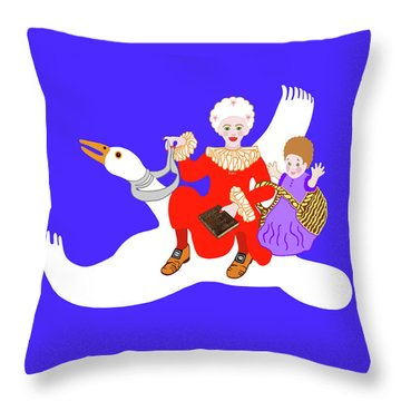 Mother Goose On Her Flying Goose Throw Pillow