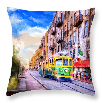 Throw Pillow featuring the mixed media Savannah River Street Streetcar by Mark Tisdale