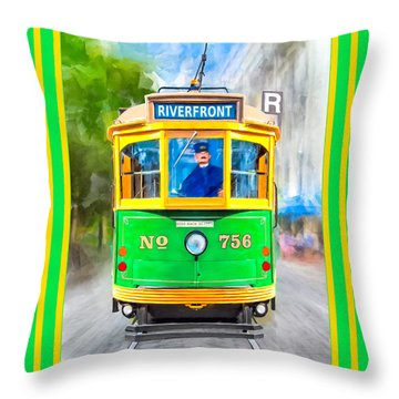 Throw Pillow featuring the mixed media Classic Streamline Streetcar - Savannah Riverfront by Mark Tisdale