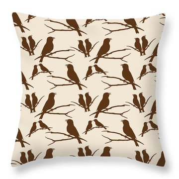 Rustic Brown Bird Silhouette Throw Pillow