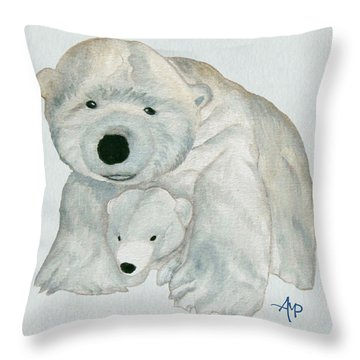 Cuddly Polar Bear Watercolor Throw Pillow