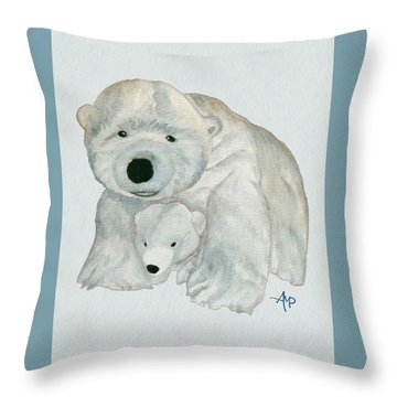 Throw Pillow featuring the painting Cuddly Polar Bear Watercolor by Angeles M Pomata