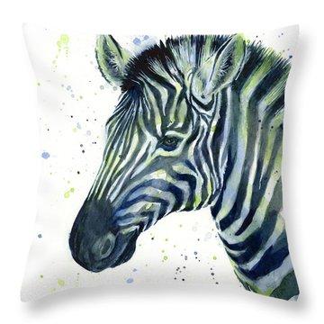 Zebra Watercolor Blue Green  Throw Pillow by Olga Shvartsur