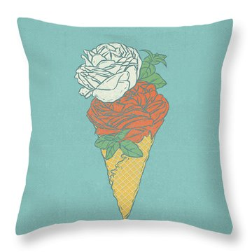 Rose Ice Cream Throw Pillow