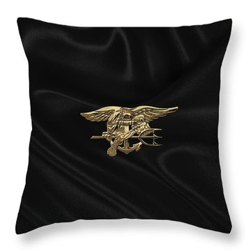 U.s. Navy Seals Trident Over Black Flag Throw Pillow