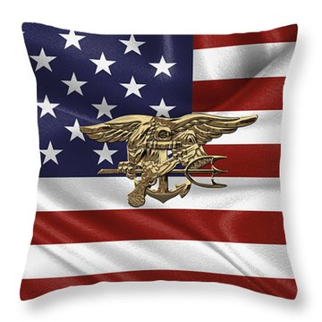 U.s. Navy Seals Trident Over U.s. Flag Throw Pillow