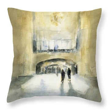 Grand Central Terminal Light Throw Pillow by Beverly Brown