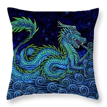 Chinese Azure Dragon Throw Pillow by Rebecca Wang