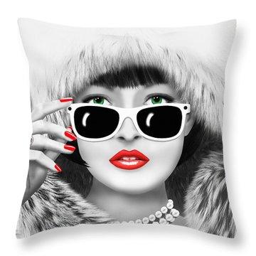 Winter Lady Throw Pillow by Monika Juengling