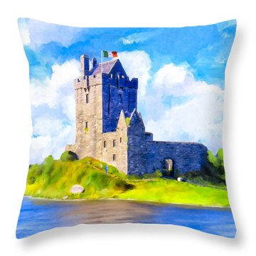 Throw Pillow featuring the mixed media On Irish Shores - Dunguaire Castle by Mark Tisdale