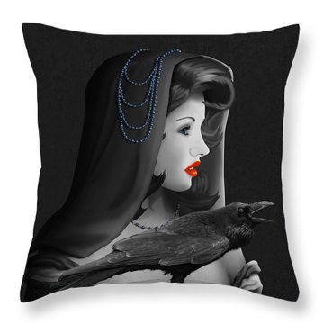 Mystic Woman With Raven Throw Pillow by Monika Juengling