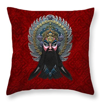 Chinese Masks - Large Masks Series - The Emperor Throw Pillow by Serge Averbukh