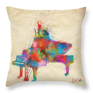 Throw Pillow featuring the digital art Music Strikes Fire From The Heart by Nikki Marie Smith