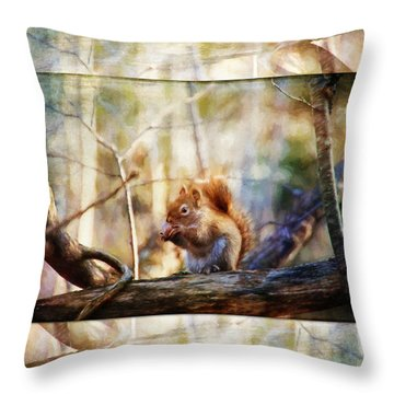 Red Squirrel With Pinecone Throw Pillow