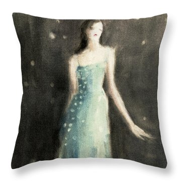 Aqua Blue Evening Dress Throw Pillow