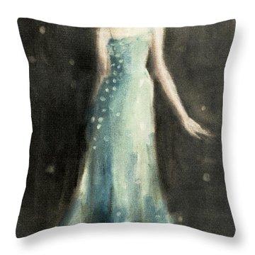 Aqua Blue Evening Dress Throw Pillow by Beverly Brown