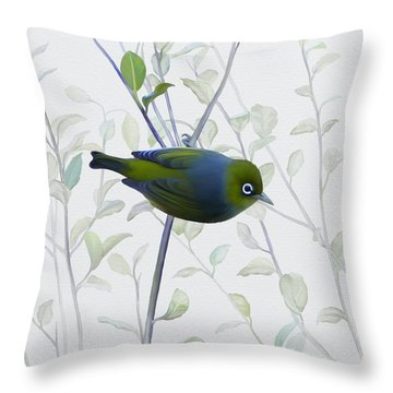 Silvereye Throw Pillow