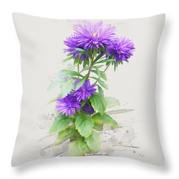 Purple Aster Throw Pillow