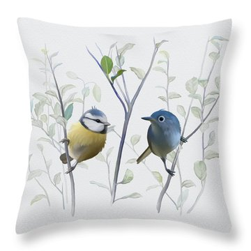 Birds In Tree Throw Pillow