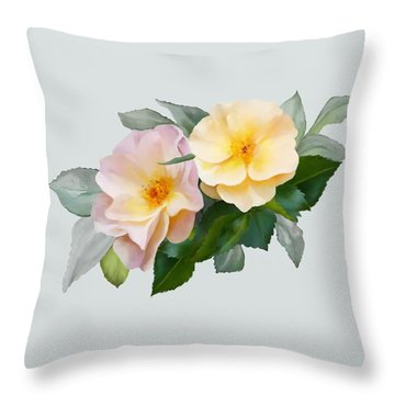 Two Wild Roses Throw Pillow