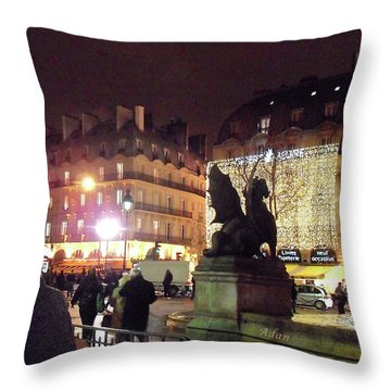 Throw Pillow featuring the photograph Place Saint-michel by Felipe Adan Lerma