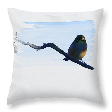 Eye To Eye With Silvereye Throw Pillow