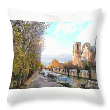 The Seine And Quay Beside Notre Dame, Autumn Throw Pillow