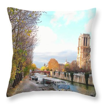 Throw Pillow featuring the photograph The Seine And Quay Beside Notre Dame, Autumn by Felipe Adan Lerma