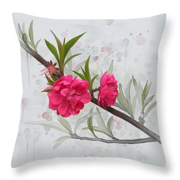 Hot Pink Blossom Throw Pillow