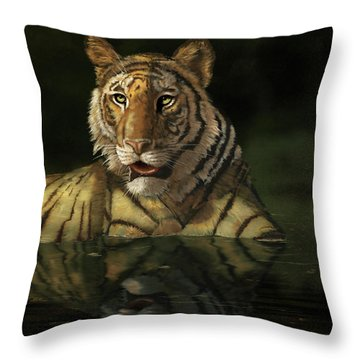 Tiger In The Water Throw Pillow