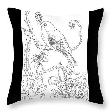 Emerson Quote Bird Nature Zentangle Art Throw Pillow
