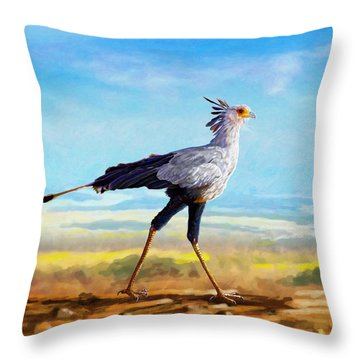 Secretary Bird Throw Pillow