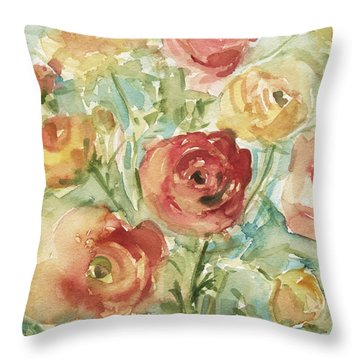 Red Orange And Yellow Ranunculus Throw Pillow