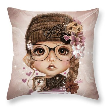 Throw Pillow featuring the drawing Java Joanna by Sheena Pike