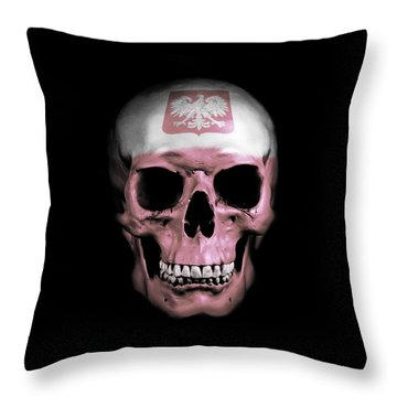 Throw Pillow featuring the digital art Polish Skull by Nicklas Gustafsson