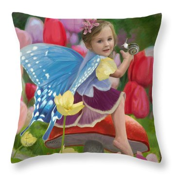 Spring Fairy Throw Pillow