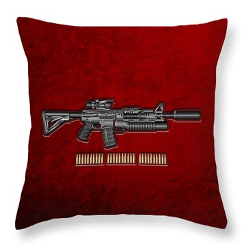 Colt  M 4 A 1  S O P M O D Carbine With 5.56 N A T O Rounds On Red Velvet  Throw Pillow by Serge Averbukh