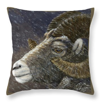 Big Horn In Snowstorm Throw Pillow