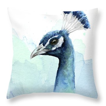Peacock Watercolor Throw Pillow