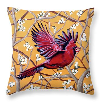 Cardinal In Flight Throw Pillow