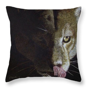 Cougar Night Throw Pillow