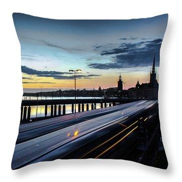 Stockholm Night - Slussen Throw Pillow