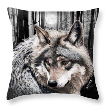 A Grey Wolf  Throw Pillow by Jasmina Susak