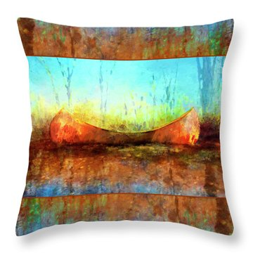 Birch Bark Canoe Throw Pillow