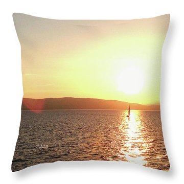 Solitary Sailboat Throw Pillow