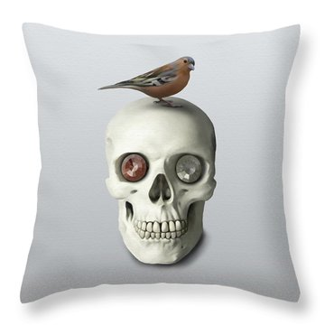 Skull And Bird Throw Pillow