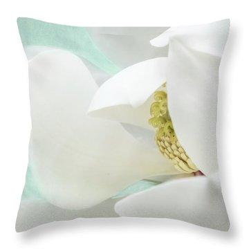 Magnolia Blossom, Soft Dreamy Romantic White Aqua Floral Throw Pillow