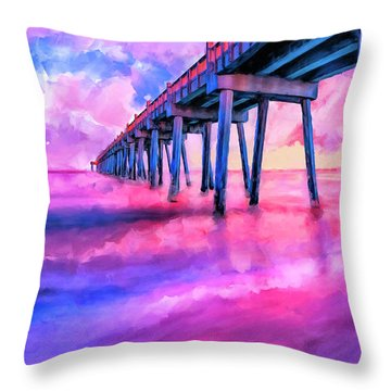 Throw Pillow featuring the mixed media In The Pink On Pensacola Beach by Mark Tisdale