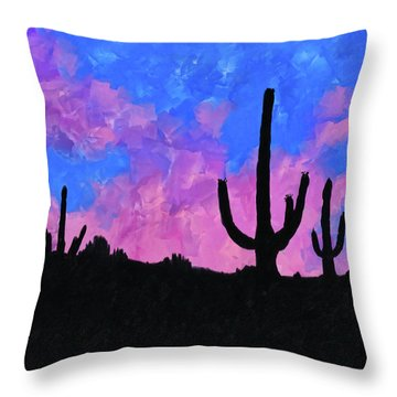 Throw Pillow featuring the mixed media Sonoran Desert Dreams by Mark Tisdale