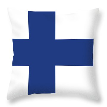 Throw Pillow featuring the digital art Flag Of Finland by Bruce Stanfield